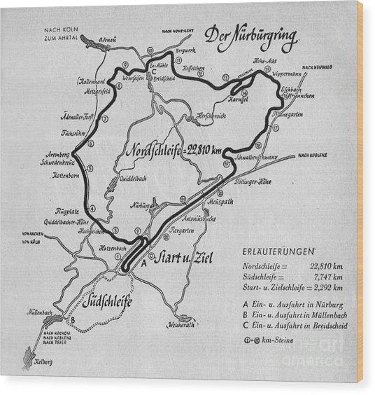 A Map Of The Nurburgring Circuit Wood Print