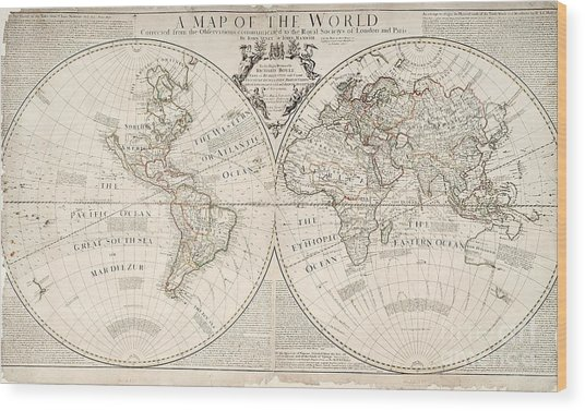 A Map Of The World Wood Print