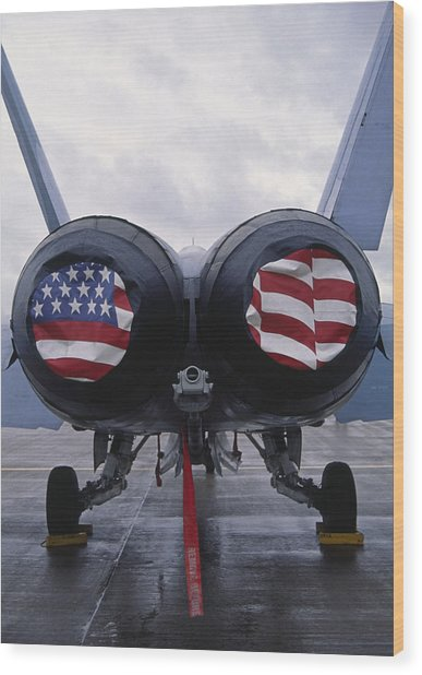 A Mcdonnell Douglas F/a-18 Hornet Twin-engine Supersonic Fighter Aircraft Wood Print