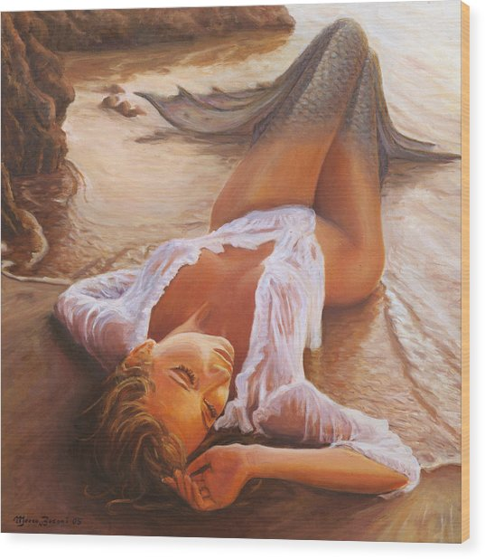 A Mermaid In The Sunset - Love Is Seduction Wood Print