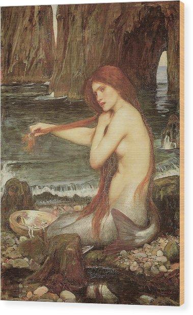 A Mermaid Wood Print