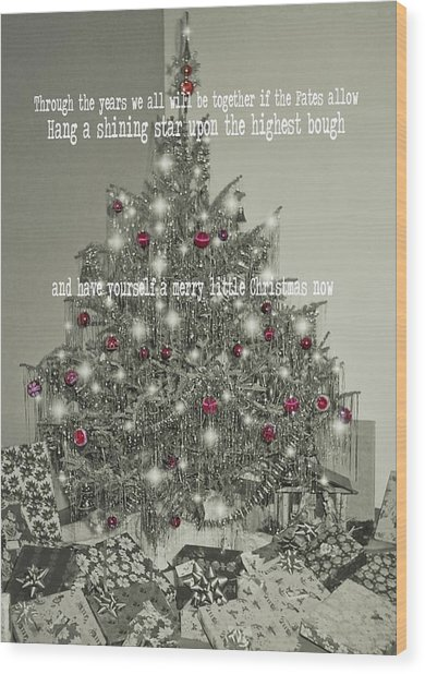 A Merry Little Christmas Quote Wood Print by JAMART Photography
