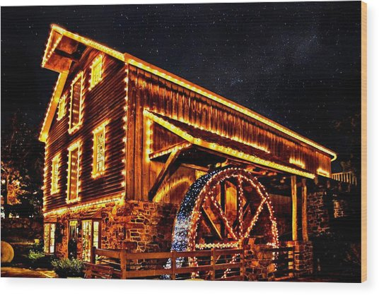 A Mill In Lights Wood Print