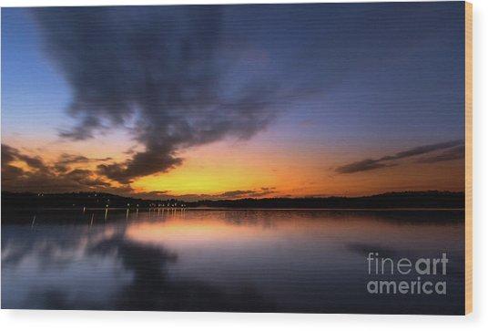 A Misty Sunset On Lake Lanier Wood Print