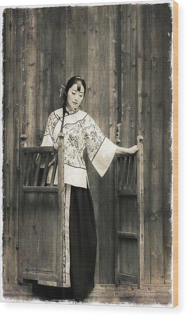 A Model In A Period Costume. Wood Print