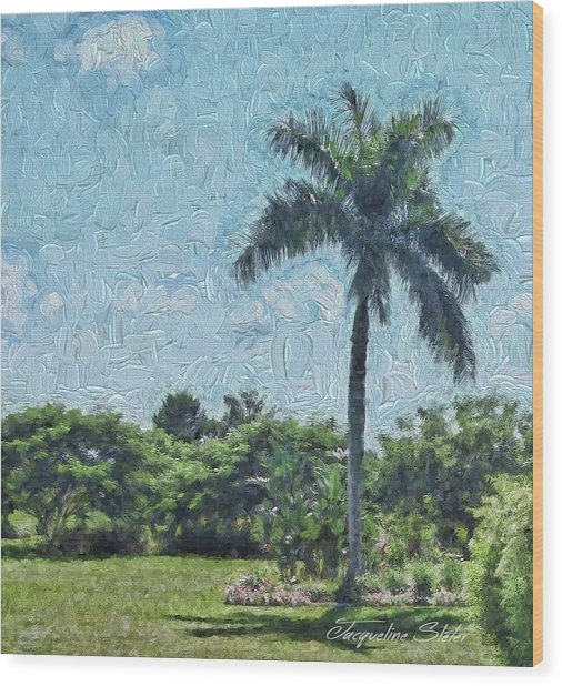 A Monet Palm Wood Print