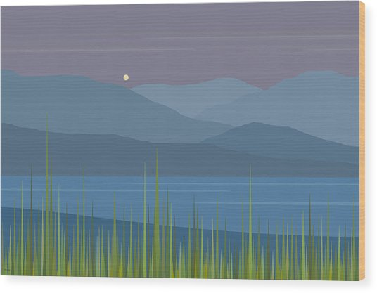 A Moon Rise After The Rain Wood Print