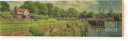 A Morning At Teddington Lock Wood Print