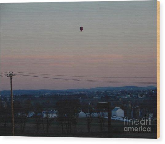 A Morning Hot Air Balloon Ride Wood Print