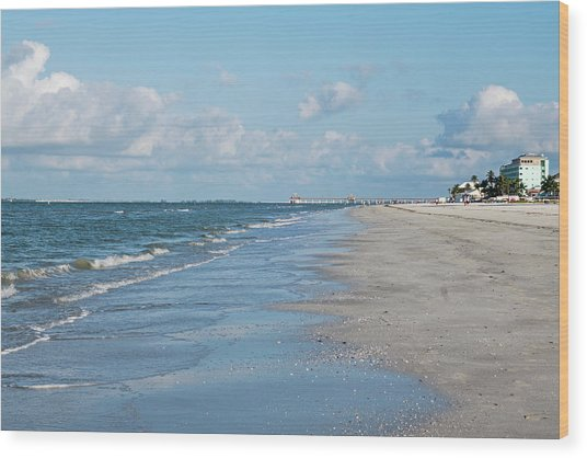 A Morning Walk On Fort Myers Beach Fort Myers Florida Wood Print