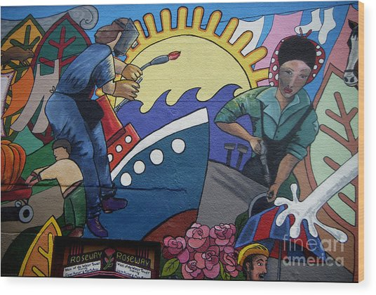 A Neigborhood In Motion Mural  Rosie The Riviter And Wendy The Welder Wood Print by Angelina Marino