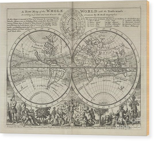 A New Map Of The Whole World With Trade Winds Herman Moll 1732 Wood Print