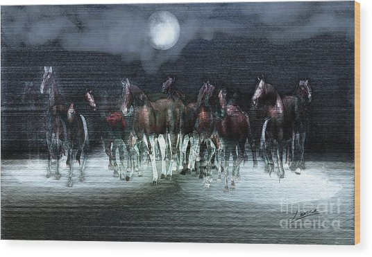A Night Of Wild Horses Wood Print