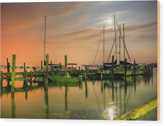 A Night Out At The Marina Wood Print by JC Findley