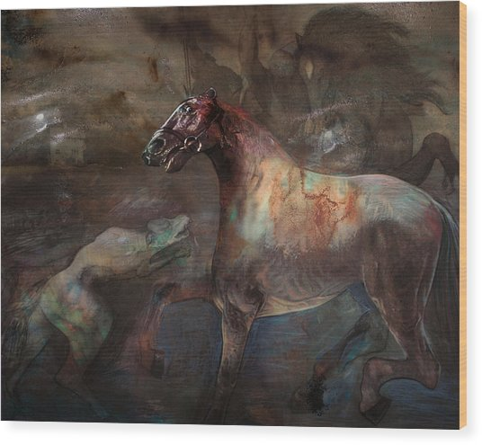 A Nightmare Wood Print by Henriette Tuer lund
