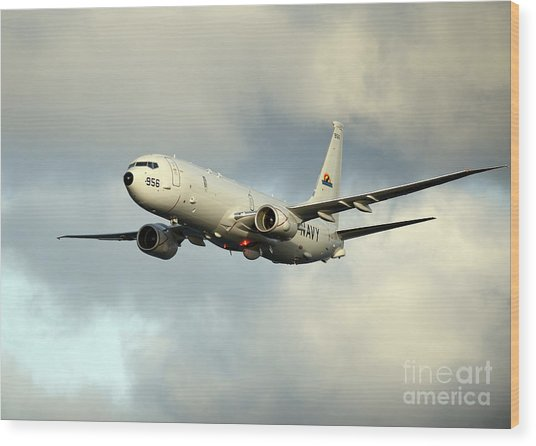 A P-8a Poseidon In Flight Wood Print