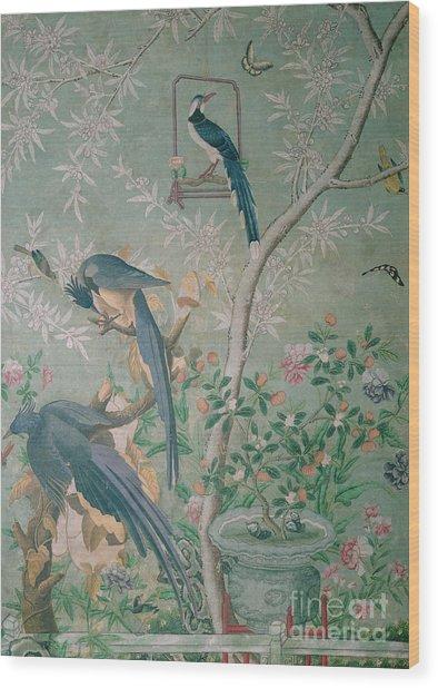 A Pair Of Magpie Jays  Vintage Wallpaper Wood Print