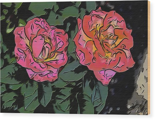 A Parrot And A Tiger Or Two Roses Wood Print