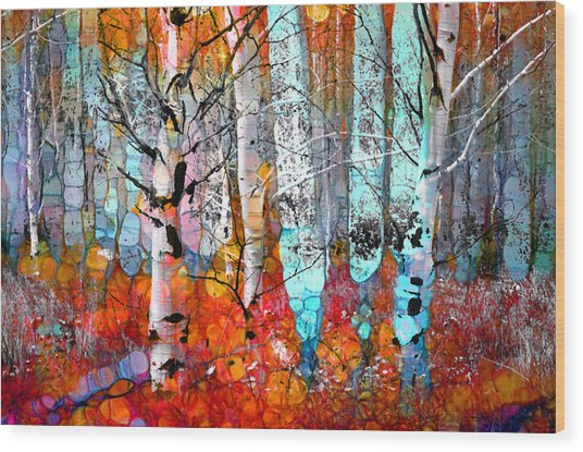 A Party In The Forest Wood Print