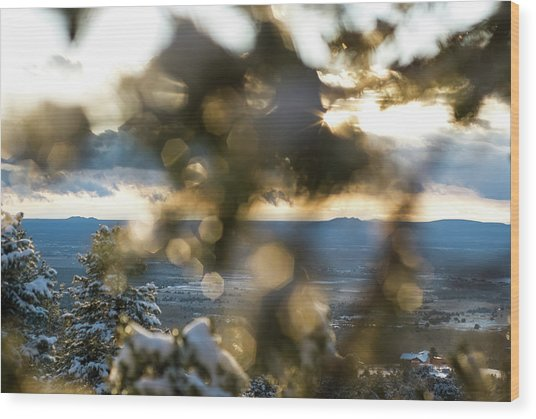 A Peek At Taos Mesa Wood Print