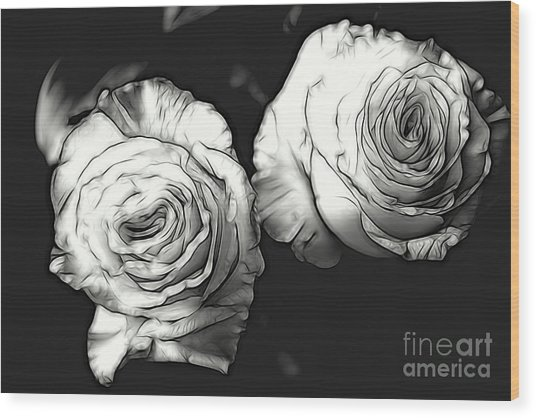 A Perfect Pair Bw Wood Print