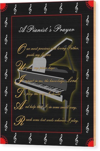 A Pianists Prayer_1 Wood Print by Joe Greenidge