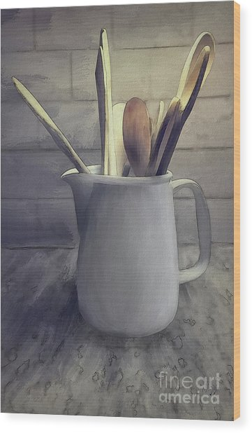 A Pitcher Of Spoons Wood Print