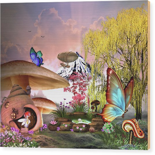 A Pixie Garden Wood Print