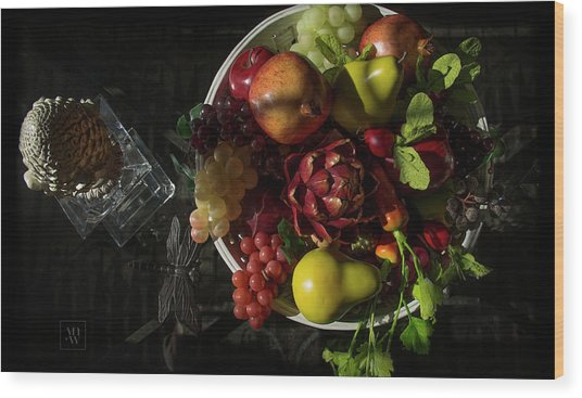 A Plate Of Fruits Wood Print