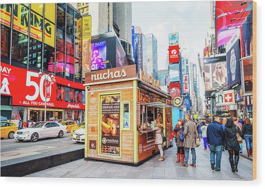 A Portable Food Stand In New York Times Square Wood Print