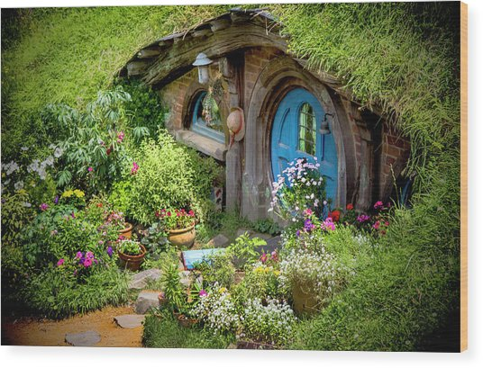 A Pretty Hobbit Hole Wood Print