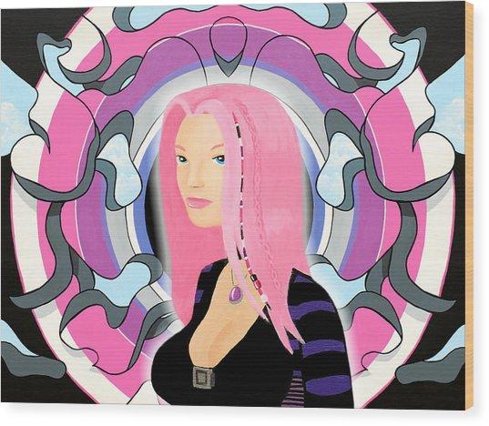 A Priori Cyberpunk Girl Derivative Wood Print by Thomas Albany