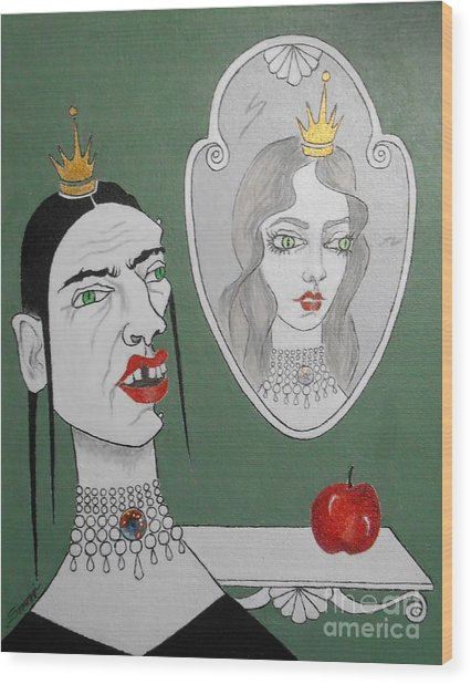 A Queen, Her Mirror And An Apple Wood Print
