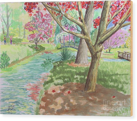 A Quiet Stroll In The Japanese Gardens Of Gibbs Gardens Wood Print