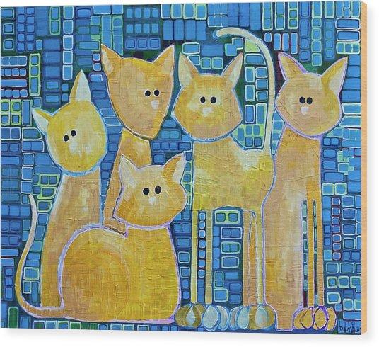 A Quorum Of Cats Wood Print