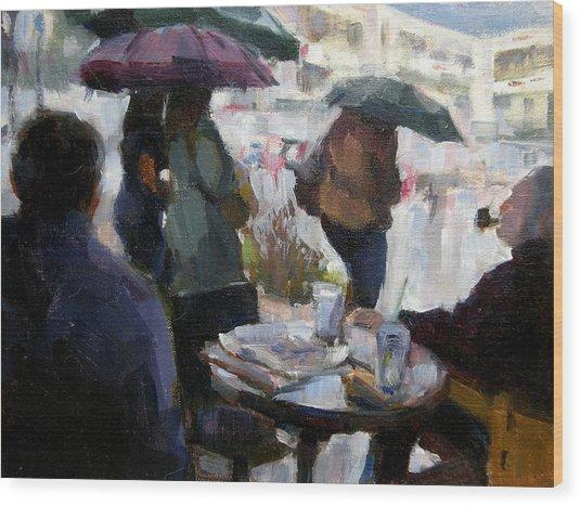 A Rainy Day At Starbucks Wood Print by Merle Keller