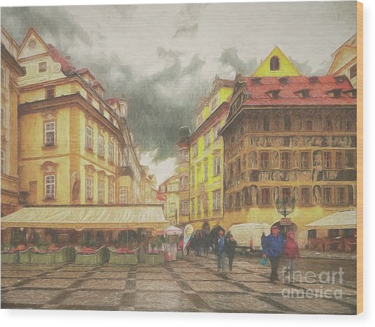 A Rainy Day In Prague Wood Print