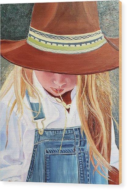 A Real Cowgirl Wood Print