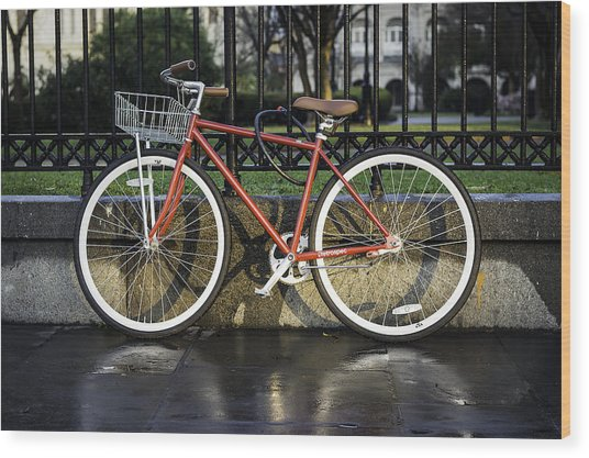 A Red Bicycle Near Jackson Square, New Orleans, Louisian Wood Print