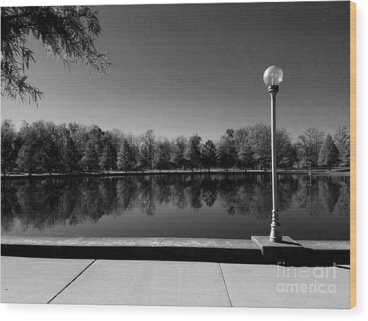 A Reflection Of Fall - Black And White Wood Print