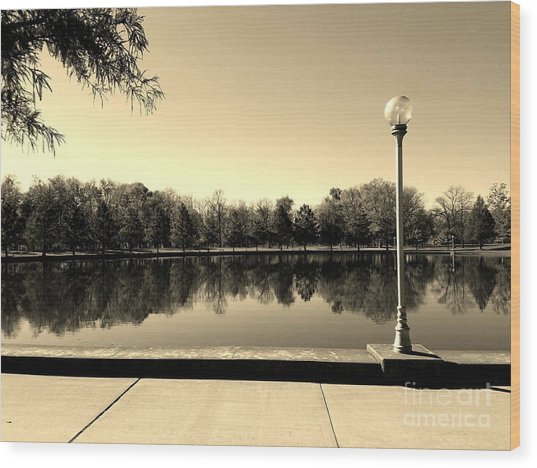 A Reflection Of Fall - Sepia Wood Print