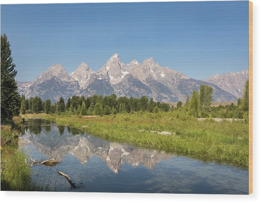 A Reflection Of The Tetons Wood Print