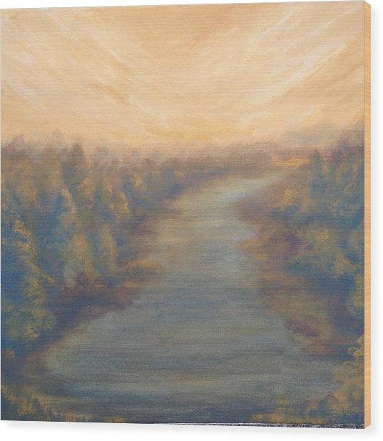 A River's Edge Wood Print