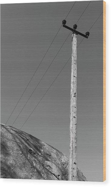 Wood Print featuring the photograph A Rock And A Pole, Hampi, 2017 by Hitendra SINKAR