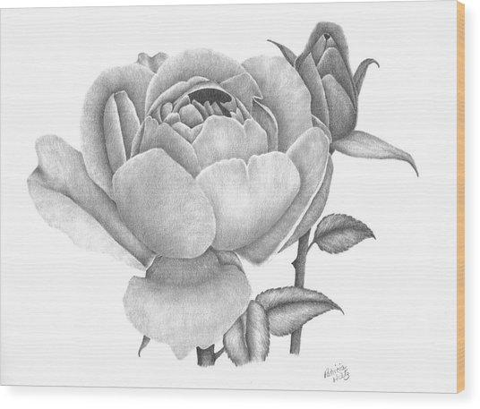 A Rose Bloom Wood Print