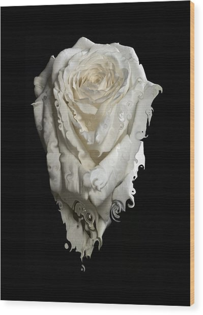 A Rose Melted Down In A Moment Wood Print by Cristina Tamiso