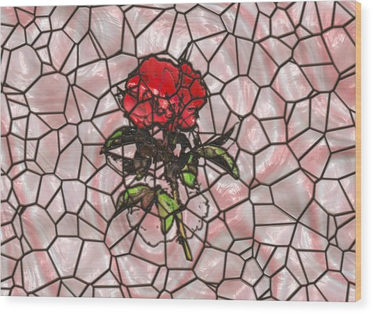 A Rose On Stained Glass Wood Print