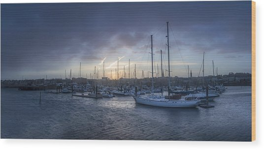 A Sailors Warning At Bangor Marina Wood Print
