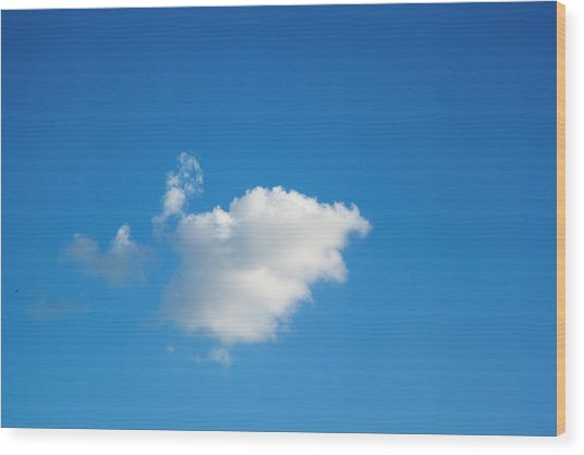 A Single Cloud Wood Print