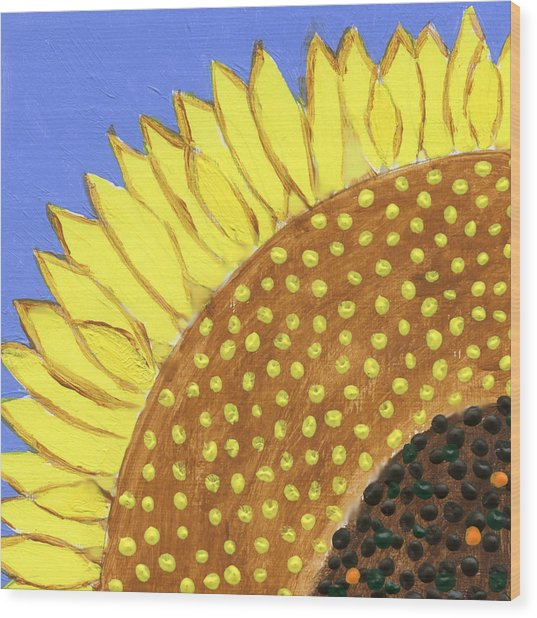 A Slice Of Sunflower Wood Print